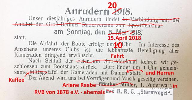 Anrudern Sturmvogel RVB 1878